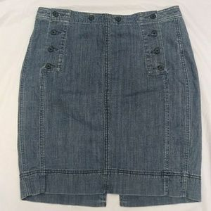 Free People Size 10 Button Flap Denim Skirt